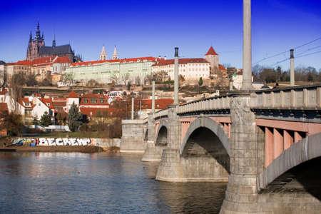 manes: View of Prague castle and the Manes Bridge