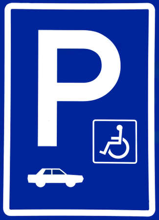 paralyze: Parking sign with pictograms for car and disabled person Stock Photo