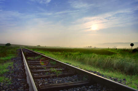 nowhere: Railway tracks in the middle of nowhere (HDR)