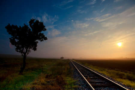 nowhere: Railway tracks in the middle of nowhere Stock Photo