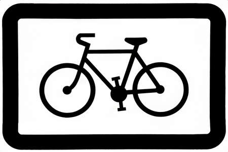 bycicle: Black and white sign for a bycicle road