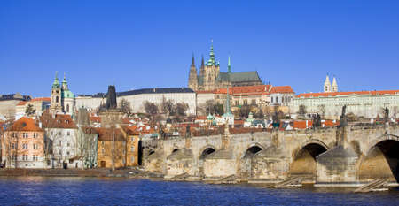 charles bridge: View of Prague castle and the Charles Bridge