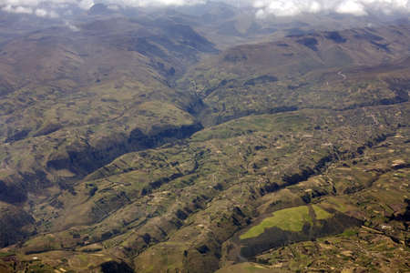 rugged terrain: Rugged terrain in the eastern Cordillera of the Ecuadorian Andes viewed from the air