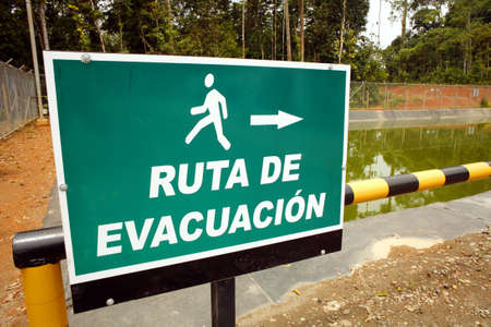 well platform: Evacuation sign on an oil well platform