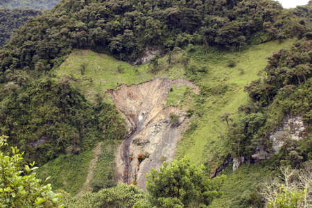 mud slide: Landslide in the Ecuadorian Andes provoked by clearing montane rainforest