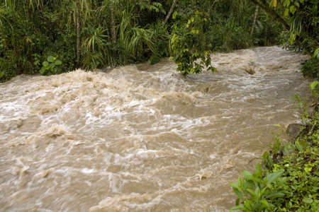 torrent: Rio Mindo, Ecuador in flood after exceptionally heavy rain in the Andes.