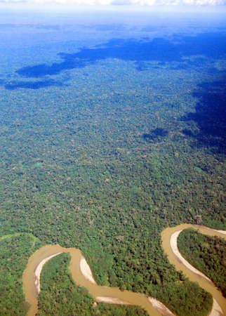 meander: Aerial view of tropical rainforest in the Amazon Basin in Ecuador. The Rio Curaray in foreground.