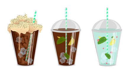 chocolate mint: Three drinks. Ice coffee with a cream. Ice tea with a lemon and a mint. Water with a lemon, a mint and berries. 3-in-1 Illustration