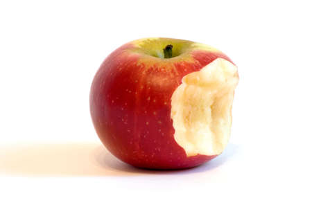 Bitten red Apple on isolated white Reklamní fotografie