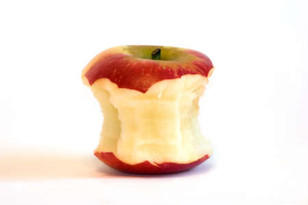 apple core: Red apple core, isolated white