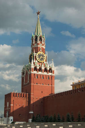 kremlin: Spasskaya tower, Moscow, Kremlin Stock Photo