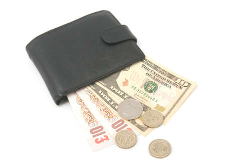 American and british money in a wallet photo