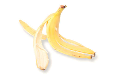 Banana peel on white with soft shadow photo