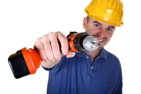 isolated young manual worker with tool background Stock Photo - 4387349