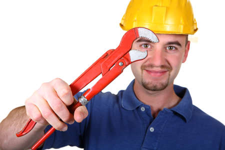 fine image of young man with tool Stock Photo - 4387351