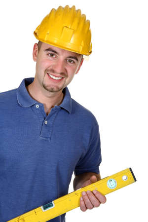 portrait of young caucasian manual worker on white background Stock Photo - 4387365