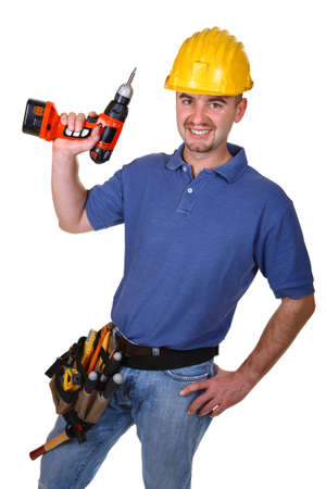 man young caucasian worker with drill isolated on white photo