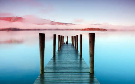 cumbria: Ashness Pier.  The pier is a landing stage on the banks of Derwentwater, Cumbria in the English Lake District national park.
