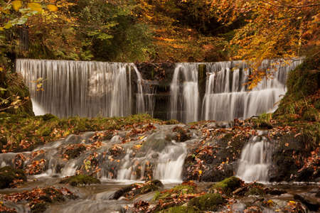 cumbria: Stock Ghyll Waterfall.  The waterfall is situated a short distance from Ambleside, Cumbria in the English Lake District. Stock Photo