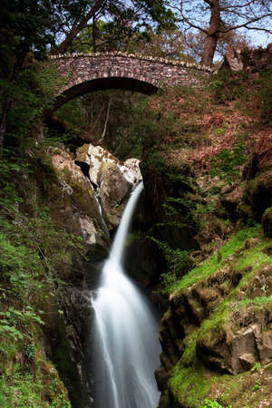 Aira Force Waterfall.  The waterfall is situated a short distance from Ullswater, Cumbria in the English Lake District.