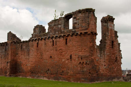 Penrith Castle.  The castle is situated in a public park in Penrith, Cumbria, northern England and was built at the end of the 14th century to defend the area from invasion by Scottish invaders. Stock Photo
