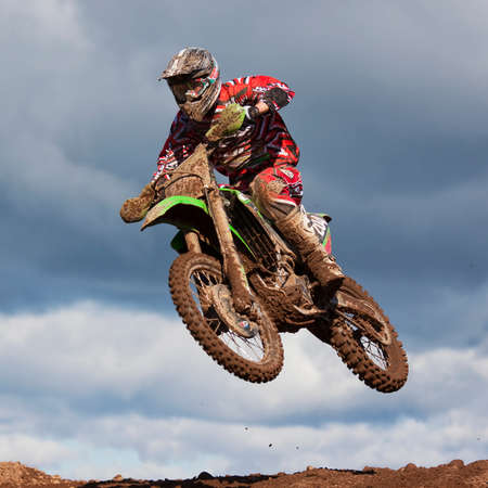 Motocross Rider.  An unidentified motocross rider takes part in the East Cumbria Motocross, Championship Round 1 at Low Gelt Motocross track in Cumbria, England.