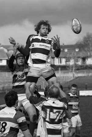 Rugby Union.  Unidentified rugby union players contest the ball in a second team match between Penrith and Liverpool St Helens, at Winters Park, Penrith, Cumbria.