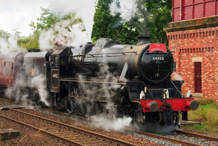 cumbria: Stanier Class Black Five.  Preserved Stanier Class Black Five steam locomotive number 44932 pictured in Appleby, England, on the Settle to Carlisle railway.
