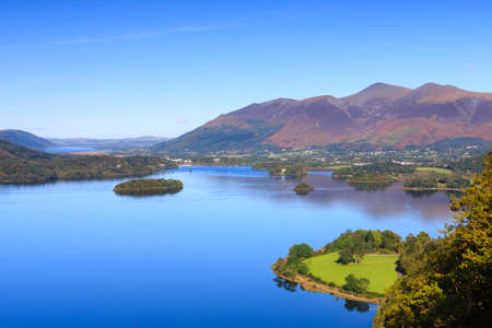 Derwentwater View.  A view across Derwentwater in the English Lake District National Park to the town of Keswick and beyond is Skiddaw.  Skiddaw is the fourth highest mountain in England.