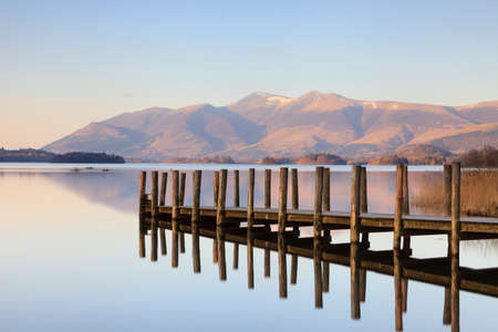 Lodore Landing Stage.  The landing stage is situated on the southern edge of Derwentwater in the English Lake District.