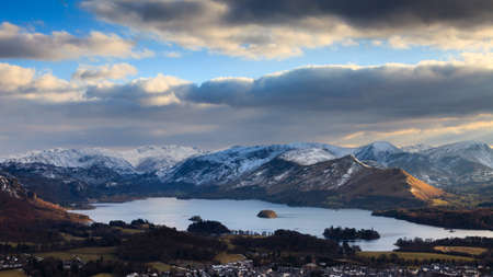 Derwentwater Winter View.  A winter view across Keswick and Derwentwater from Latrigg Fell in the English Lake District.