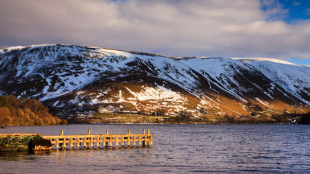 cumbria: Ullswater Pier.  The pier is a landing stage situated in Gowbarrow Bay on the banks of Ullswater, Cumbria in the English Lake District.