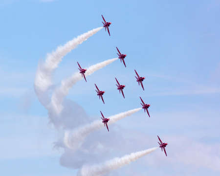 The Red Arrows.  RAF aerobatics display team the Red Arrows give a display prior to the British Grand Prix.