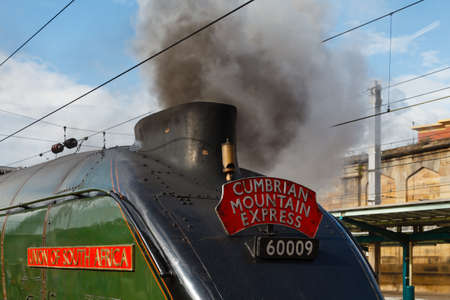 cumbria: Union of South Africa.  Preserved Sir Nigel Gresley steam locomotive Union of South Africa is pictured in Carlisle station, England.
