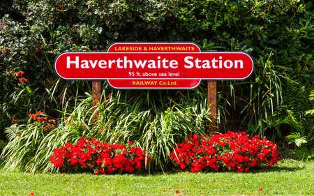 Haverthwaite Destination Sign.  The destination sign for Haverthwaite Station on the Lakeside and Haverthwaite Railway in Cumbria, northern England. Editorial
