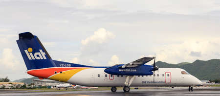 A LIAT plane prepares to take off from Princess Juliana International Airport on St Maarten.  LIAT operates flights across the Caribbean.