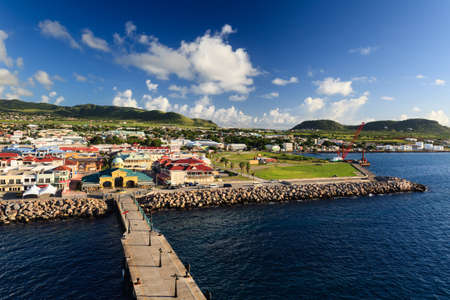 Basseterre waterfront.  Basseterre is the capital of the island of St Kitts, one of the Leeward Islands in the West Indies.