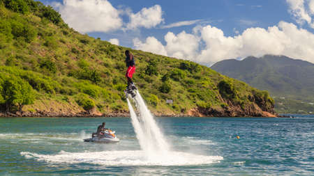 Flyboarding demonstrated on Cockleshell Bay.  The flyboard was developed in 2011 with the first world championships taking place in 2012.