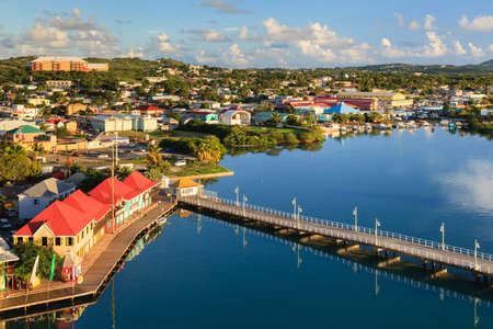 St Johns waterfront.  St Johns is the capital of the island of Antigua, one of the Leeward Islands in the West Indies.