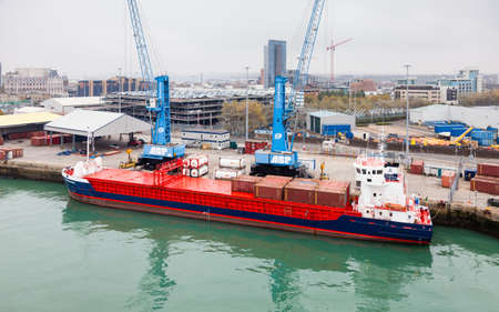 Huelin Dispatch.  An Irish registered general cargo ship named Huelin Dispatch is docked in the port of Southampton.
