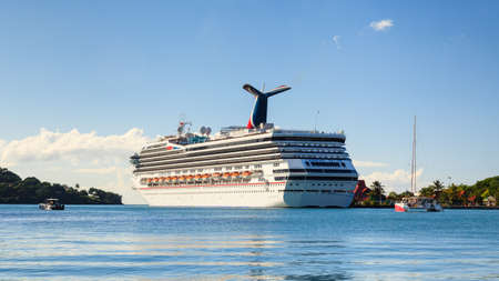 Carnival Valor.  Cruise ship Carnival Valor docked in Castries. The Valor operated by Carnival Cruises whose maiden voyage was in 2004 was built at a cost of $500m.
