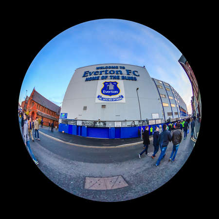Goodison Park home of Everton Football Club.  The stadium is one of the oldest purpose built football stadiums in the world.