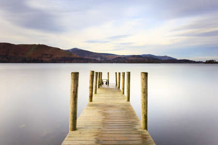 lake district: Ashness Pier.  The pier is a landing stage on the banks of Derwentwater, Cumbria in the English Lake District national park.