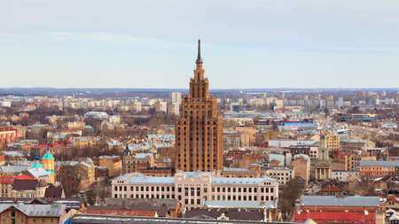 A panorama of the city of Riga, capital of Latvia.  The Academy of Sciences built between 1953 and 1956 dominates the skyline standing at 108m (354ft) tall.