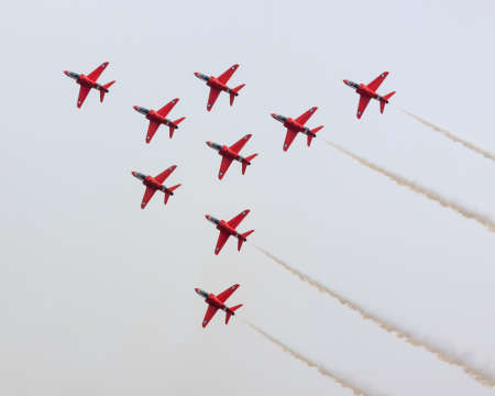 The Red Arrows.  RAF aerobatics display team the Red Arrows give a display.