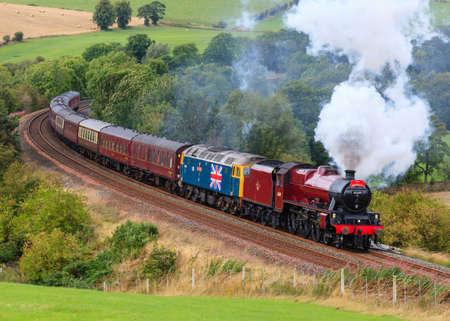 Preserved steam locomotive Galatea heads the Waverley through Armathwaite, on the Settle to Carlisle railway.