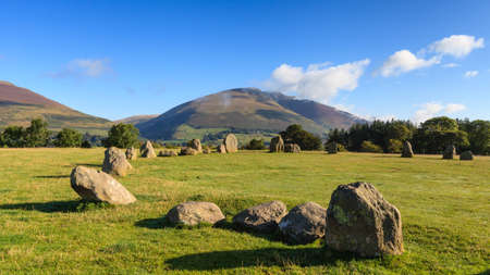 Castlerigg Stone Circle.  Castlerigg Stone Circle is situated near Keswick, Cumbria in the English Lake District national park.  Blencathra one of the highest peaks in Cumbria is in the background.
