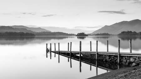 Derwentwater Landing Stage.  A black and white image of Ashness Gate landing stage.  The landing stage is on the banks of Derwentwater, Cumbria in the English Lake District national park.