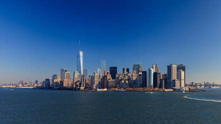 Lower Manhattan Skyline.  A panoramic view of the Lower Manhattan skyline in New York City viewed from the Hudson River. Stock Photo - 85544266