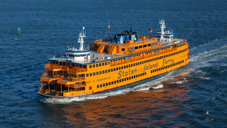 The Staten Island ferry Spirit of America on the Hudson River.  The boat's keel was built with steel from the World Trade Centre.